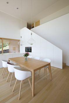 Haus DB Klaus — ARCHITEKTUR Jürgen Hagspiel Concrete Wood, House On A Hill, Dining Table, House Ideas, Furniture, Spaces, Home Decor, House Template, Home Decoration