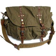 Vintage Green Canvas Messenger Bag ($63) ❤ liked on Polyvore featuring bags, messenger bags, vintage bags, vintage messenger bag, brown bag, zip top messenger bag and long bags
