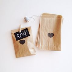 Hand Stamped Heart Favor Bags by stationeryboutique on Etsy, $10.00