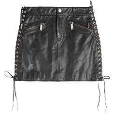 Dsquared2 Leather Skirt ($705) ❤ liked on Polyvore featuring skirts, mini skirts, bottoms, black, lace up skirt, slimming skirts, button skirt, genuine leather skirt and dsquared2