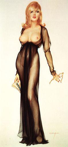 Vargas girl; illustration (watercolor on board) by Alberto Vargas; Playboy, March 1965.