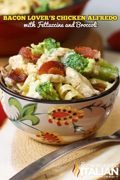 Bacon Lover's Chicken Alfredo with Fettuccine and Broccoli from @SlowRoasted