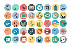 125+ Flat Design Icons by Creative Stall on Creative Market
