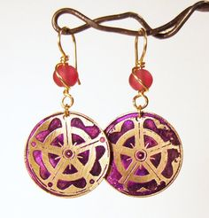 Etched Brass Earrings Pink and Purple by AmongTheRuins on Etsy, $22.00