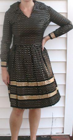 Vintage 1950s Saks Metallic Polka Dots Dress