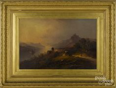 Continental oil on canvas landscape, 19th c., signed indistinctly lower right, Tordin? - Price Estimate: $400 - $800