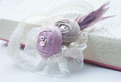 LilleJen™ Shabby hårbånd i dus rosa, lys brun og krem med blondestrikk -Vintage Shabby Chic Hårbånd | Perfekt til fotografering