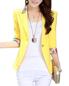 New Trending Outerwear: Aro Lora Womens 1/2 Long Sleeve Slim Fitted Floral Print Casual Suit Jacket Blazer US 4-6 Yellow. Aro Lora Women's 1/2 Long Sleeve Slim Fitted Floral Print Casual Suit Jacket Blazer US 4-6 Yellow Special Offer: $25.98 266 Reviews This floral print blazer is slim fitted and it can wear both in formal and casual occasion. It can wear to work or wear to party. Size Chart:...
