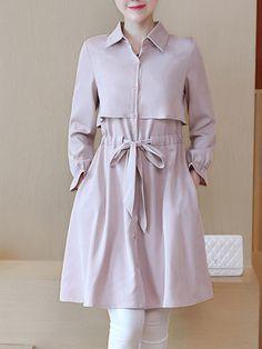#BerryLook - #berrylook Drawstring Storm Flap Plain Pocket Trench Coat - AdoreWe.com Modest Fashion, Trendy Fashion, Fashion Dresses, Trendy Style, Kurta Designs, Blouse Designs, Vogue Fashion, Hijab Fashion, Dress Shirts For Women