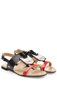 Karl Robot Choupette Lagerfeld Leather Sandals