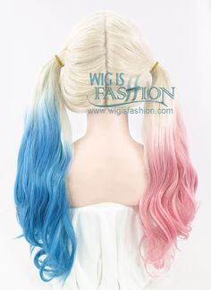 "22"" Long Curly Blonde Pink Blue Mixed Harley Quinn Customizable Made-To-Order Lace Front Synthetic Hair Wig LF853 - Wig Is Fashion"
