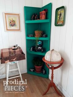 Corner Shelf Built by Larissa of Prodigal Pieces by Upcycling a Pair of Wooden Louver Doors   prodigalpieces.com #prodigalpieces #furniture #homedecor #shopping