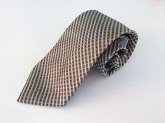 Calvin Klein Neck Tie Brown Light Green Striped 100% Silk #CalvinKlein #NeckTie