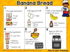 Banana Bread Recipe - Cooking with Kids from Play to Learn Preschoolers Cooking In The Classroom, Cooking Classes For Kids, Cooking School, Kouign Amann, Easy Banana Bread, Banana Bread Recipes, Sandwich Recipes, Banana Health Benefits, Baking With Kids