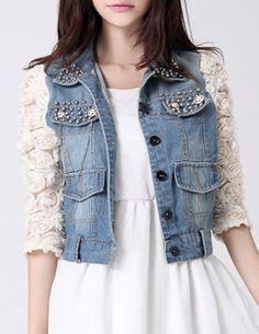 Rose Embellished Sleeve Denim Jacket - Glitzx