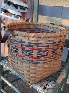Chairside Basket. via Etsy. I like the outline detail around the dyed reed.