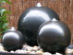 Water Feature Ceramic Triple Sphere LED Lights Fountain Cascade Garden Ball  Set