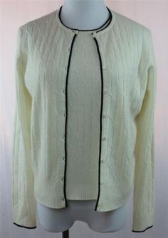 Ann Taylor 100 Cashmere Womens Cardigan Vest 2 PC Set Small Ivory Cable Knit | eBay $37.95
