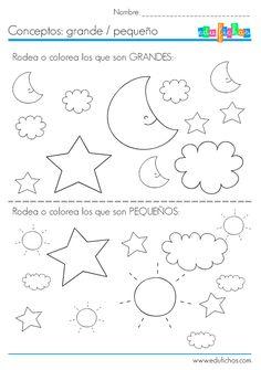Ejercicios coloreables para niños  http://www.edufichas.com/actividades/conceptos/cualitativos/conceptos-grande-pequeno/  #sheets #work #kids #infantil #preschool