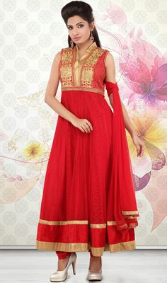 Red Embroidered Net Anarkali Churidar Dress Transform yourself into an icon in this red embroidered net Anarkali churidar dress. The interesting lace, resham and stones work a considerable attribute of this attire.  #NetAnarkaliChuridarDress #LatestDesignerSutis