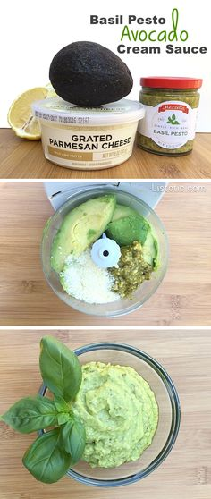Easy Basil Pesto Avocado Cream Sauce, Spread or Dip -- Super healthy and so versatile!