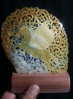Hand Carved Mother of Pearl Seashell MOP Carving Pegasus Carving