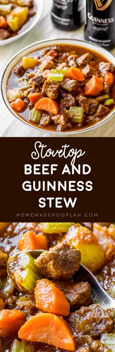 Stovetop Beef and Guinness Stew! Pan-seared beef and bacon are cooked with a melody of veggies and herbs in a savory Guinness stew. Makes for a delicious dinner or pure fall comfort food!   HomemadeHooplah.com
