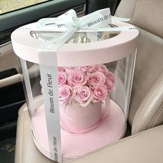 Flower Box Gift, Flower Boxes, Flowers In A Box, Ribbon Flower, Round Gift Boxes, Bouquet Box, Transparent Flowers, Window Box Flowers, Gift Box Design