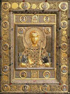 Archangel Michael, icon, silver gilt and enamel