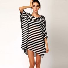 f3e78266d48b0 DQdq Sexy Women s Oversized Striped Beach Bikini Swimwear Cover-up  Polyester. Light Chiffon make you so cool and stylish. Content  1 cover-ups  only.