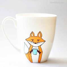 Fox mug  white 11oz coffee mug orange mint green by LittleSloth cute fox mug Christmas gift xmas what does the fox say
