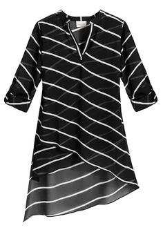 Black and White Graphic Striped Top