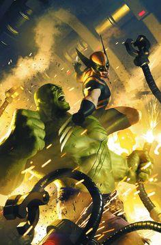 Wolverine vs Hulk by Michael Komarck