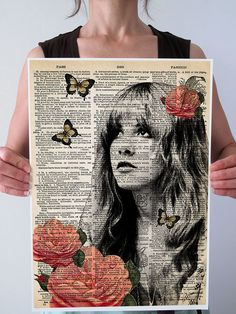 LARGE Stevie Nicks Gypsy Butterflies Fleetwood Mac Original Dictionary Art Print Poster Gorgeous Giclee Book Page A3 11x16 on Etsy, $35.00