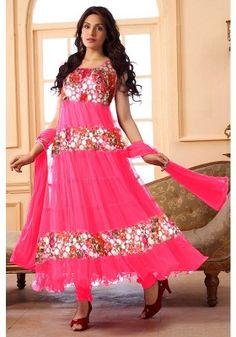 Pink Color Net Anarkali Suit