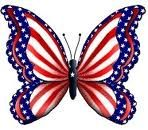 Red, white blue butterfly