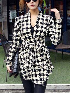 Houndstooth Long Sleeve Cardigan