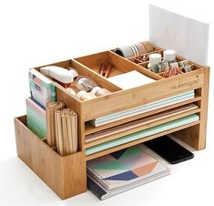 Planner and Stationery Supplies Storage, Journal and Notebook Accessories Organiser, Wood Desk Tidy, Desk Top, Scrapbook Storage - DIY Desk Ideen Desk Organization Diy, Diy Desk, Diy Storage, Storage Ideas, Office Organisation, Organizing Paperwork, Organizing Your Home, Home Office Storage, Home Office Desks