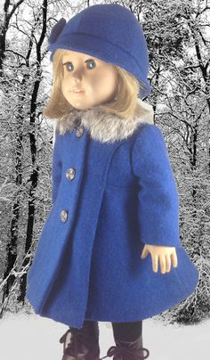 """Royal Blue Wool Coat and Hat for American Girl and 18"""" dolls Pattern found at pixiefaire.com"""