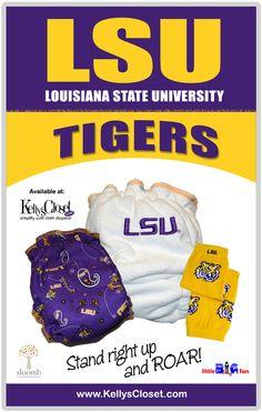Yep yep. Louisiana State University LSU fitted cloth diapers and leg warmers. http://www.kellyscloset.com/Collegiate-Gear_c_994.html