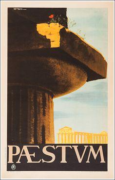 1950 Paestum, Italy vintage travel poster