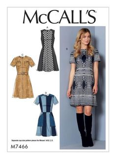 McCall's sewing pattern with adjustable cup sizes. M7466 Misses' Paneled Dresses with Yoke, and Belt