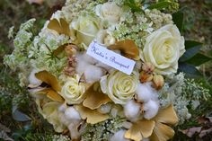 Wedding Flowers from Springwell: Cotton Bolls and Gingko Leaves for a Lovely Fall Bouquet
