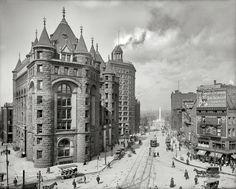 Bustling Buffalo, New York, circa 1908. Erie County Savings Bank, Niagara Street