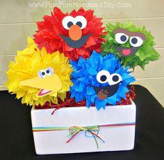 Sesame Street inspirado Poms fiesta centro de mesa por PomPomMomma