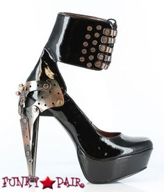Apollo * 5 Inch Custom Metal Steampunk Heel with Butterfly Gears and Ankle Bracelet Pump $147.95