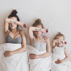There were three in the bed and the little one said 'is it croissant time yet?'  Mother and daughter photography