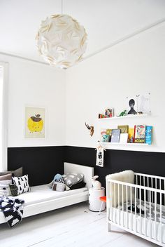 Elegant Black and White Themed Kids Boys Room with Corner Simple White Frame Bed complete with the Soft Mattress and Creative Craft Paper Ball Pendant Lamp also Minimalist Wooden Wall Shelf for Shared Boys Bedroom Design Ideas