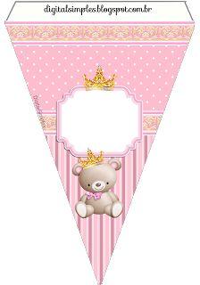"Kit Aniversário ""Ursinha Princesa Rosa"" - Convites Digitais Simples"