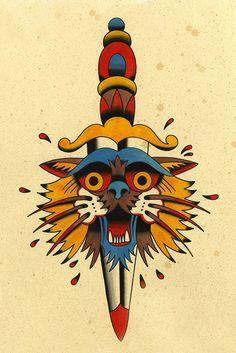 kyler martz 2013   cat dagger tattoo flash
